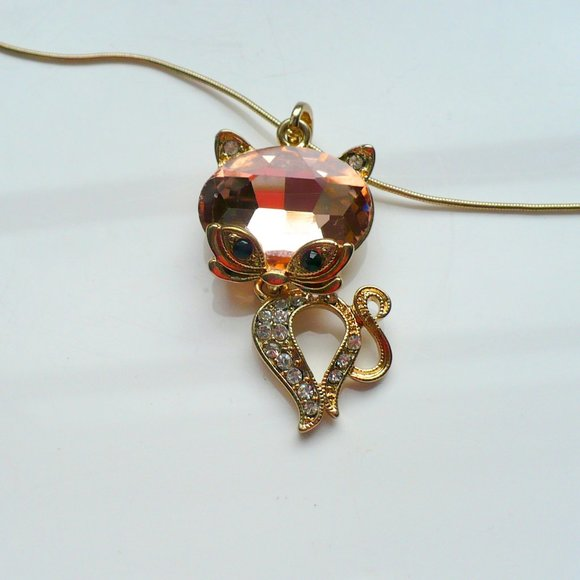 ❤️ Adorable PEACHY-PINK Kitty Necklace